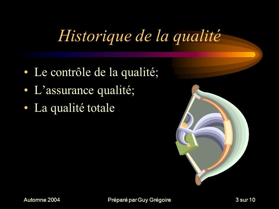 Automne 2004Préparé par Guy Grégoire4 sur 10 Lévolution du concept de qualité Années passées –Il faut réduire le nombre de produits retournés.