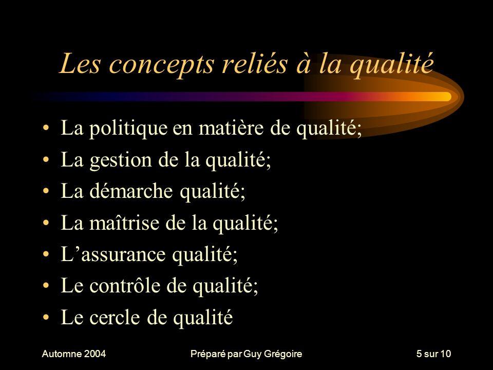 Automne 2004Préparé par Guy Grégoire5 sur 10 Les concepts reliés à la qualité La politique en matière de qualité; La gestion de la qualité; La démarche qualité; La maîtrise de la qualité; Lassurance qualité; Le contrôle de qualité; Le cercle de qualité