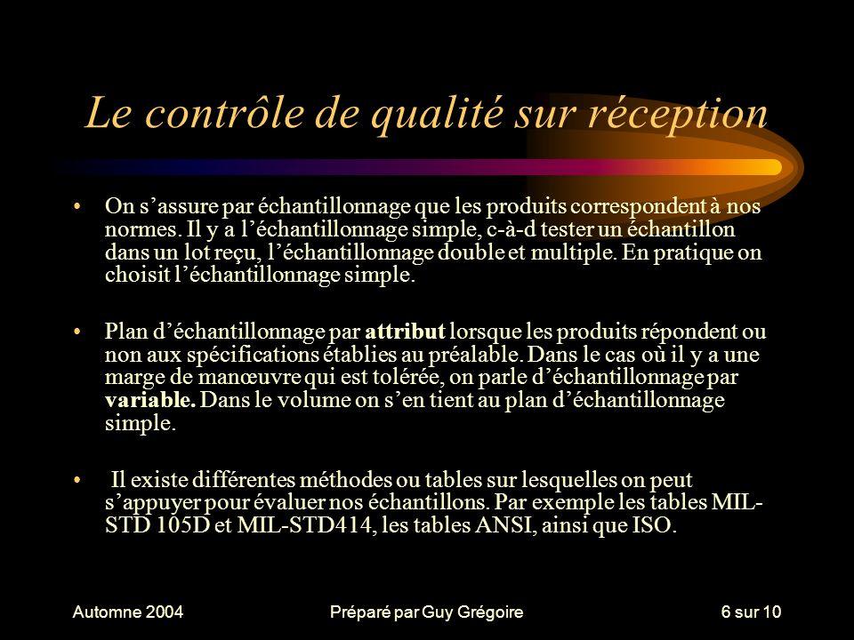 Automne 2004Préparé par Guy Grégoire6 sur 10 Le contrôle de qualité sur réception On sassure par échantillonnage que les produits correspondent à nos normes.