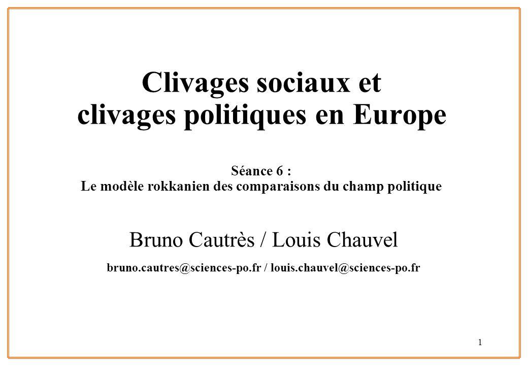 1 Clivages sociaux et clivages politiques en Europe Séance 6 : Le modèle rokkanien des comparaisons du champ politique Bruno Cautrès / Louis Chauvel b