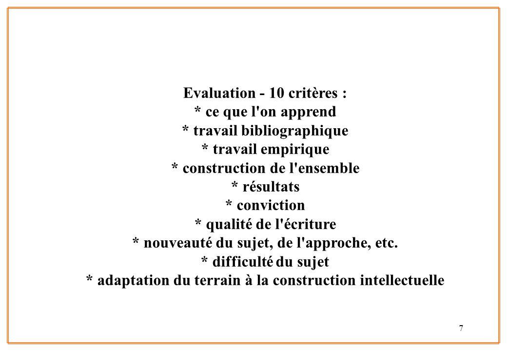 7 Evaluation - 10 critères : * ce que l'on apprend * travail bibliographique * travail empirique * construction de l'ensemble * résultats * conviction