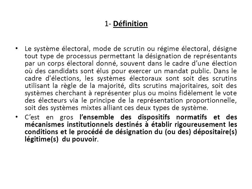 1- Définition Le système électoral, mode de scrutin ou régime électoral, désigne tout type de processus permettant la désignation de représentants par un corps électoral donné, souvent dans le cadre dune élection où des candidats sont élus pour exercer un mandat public.