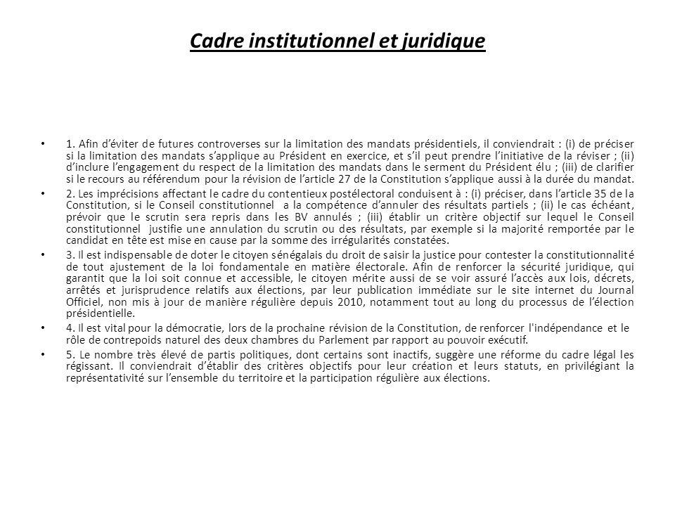 Cadre institutionnel et juridique 1.