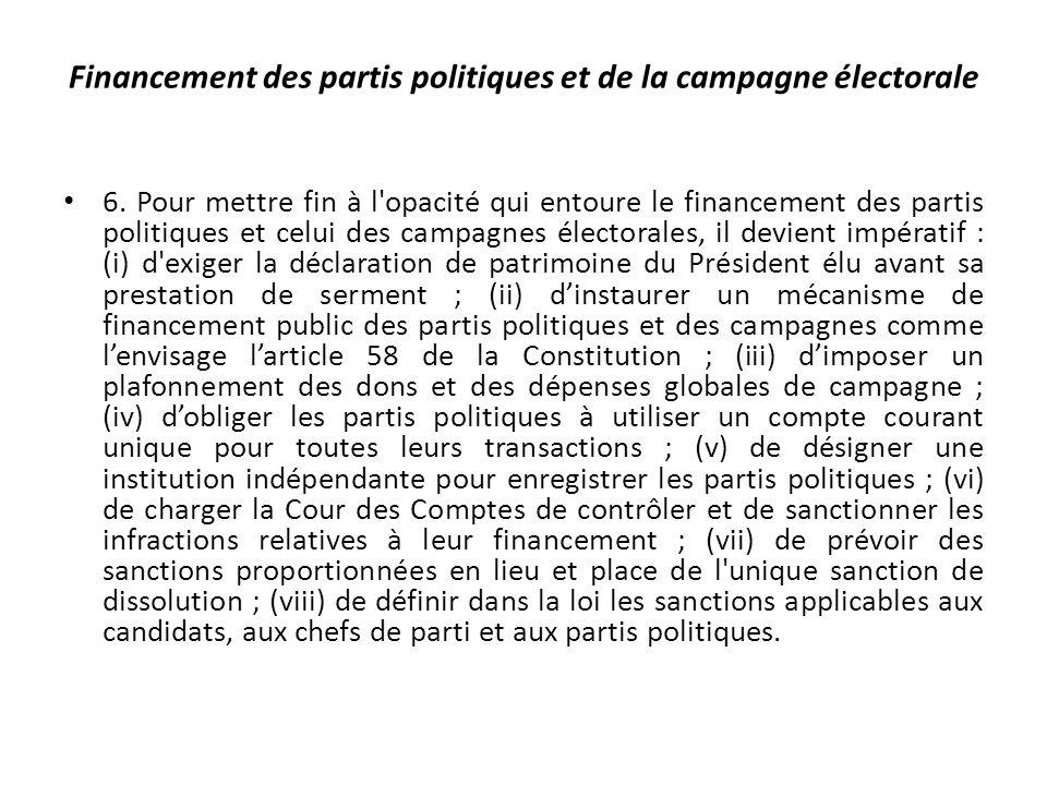 Financement des partis politiques et de la campagne électorale 6.