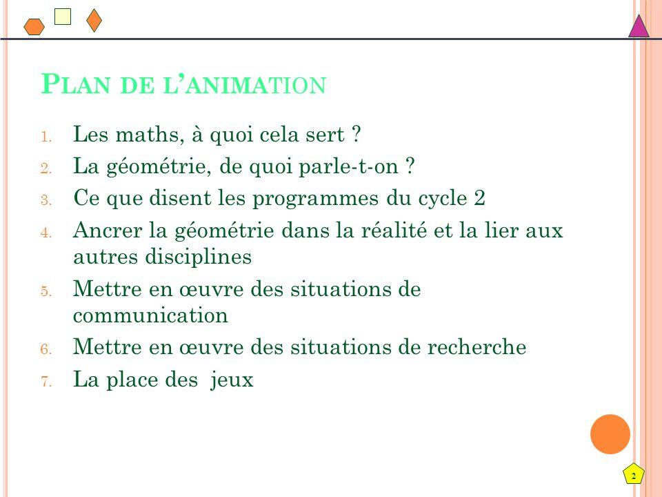 2 P LAN DE L ANIMA TION 1. Les maths, à quoi cela sert ? 2. La géométrie, de quoi parle-t-on ? 3. Ce que disent les programmes du cycle 2 4. Ancrer la
