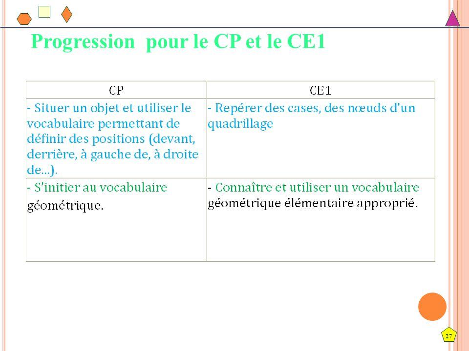 27 Progression pour le CP et le CE1
