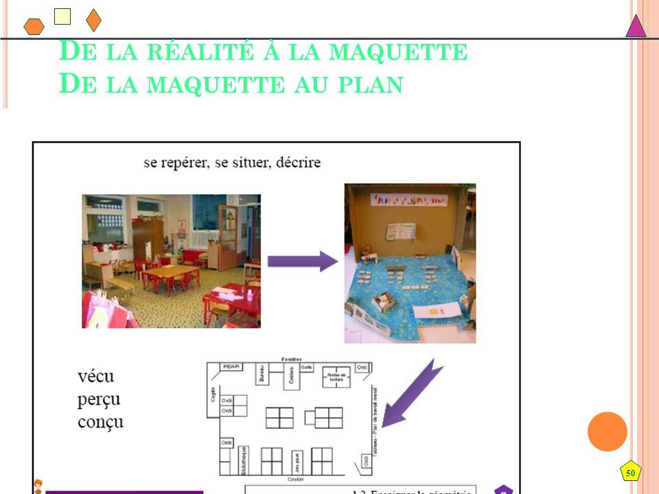 50 D E LA RÉALITÉ À LA MAQUETTE D E LA MAQUETTE AU PLAN