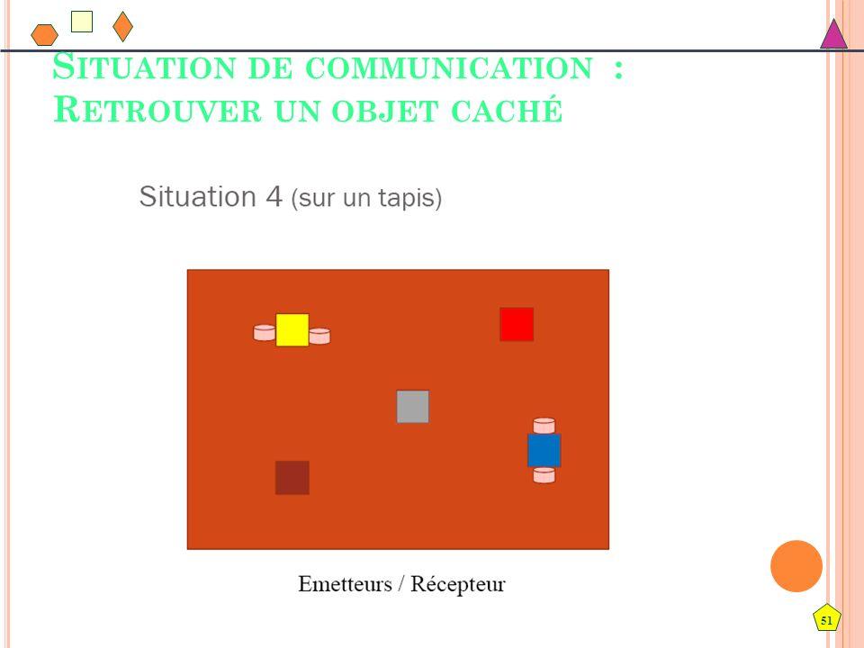 51 S ITUATION DE COMMUNICATION : R ETROUVER UN OBJET CACHÉ
