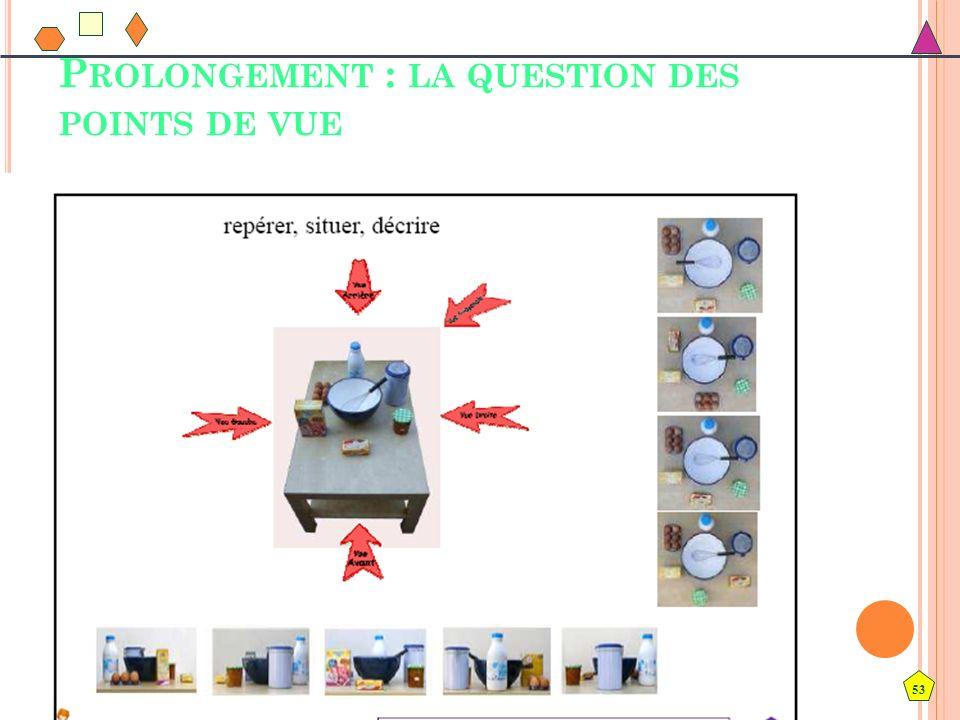 53 P ROLONGEMENT : LA QUESTION DES POINTS DE VUE