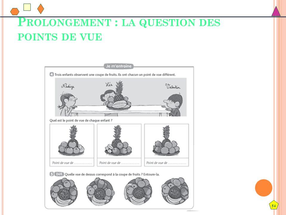 54 P ROLONGEMENT : LA QUESTION DES POINTS DE VUE
