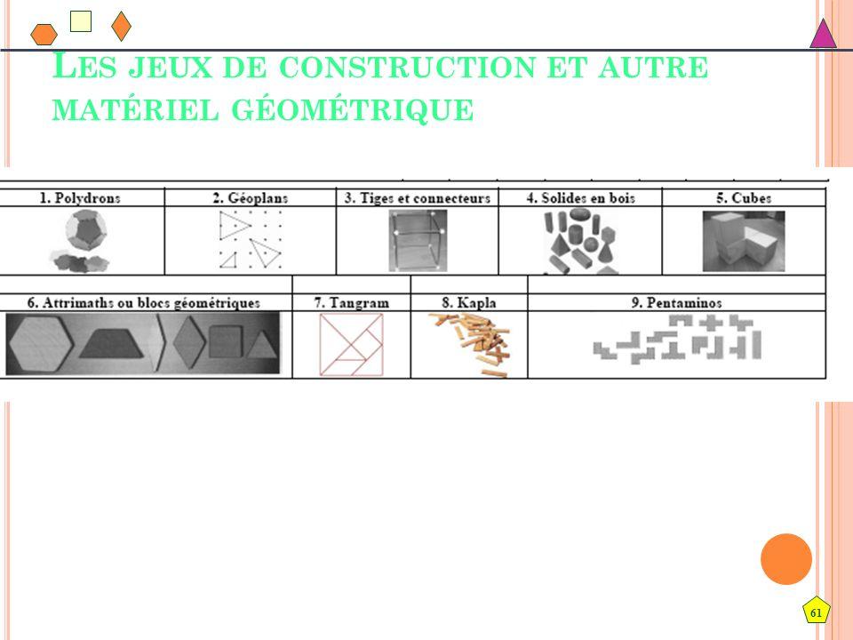 61 L ES JEUX DE CONSTRUCTION ET AUTRE MATÉRIEL GÉOMÉTRIQUE