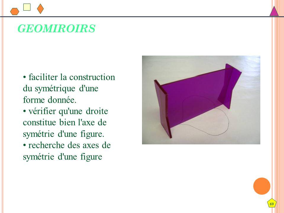 69 GEOMIROIRS faciliter la construction du symétrique d'une forme donnée. vérifier qu'une droite constitue bien l'axe de symétrie d'une figure. recher