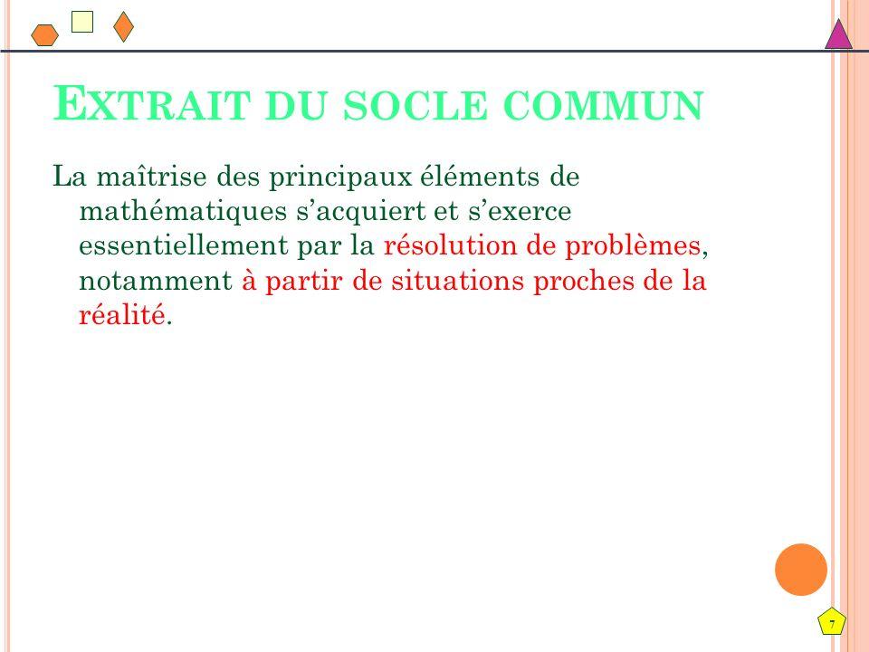 7 E XTRAIT DU SOCLE COMMUN La maîtrise des principaux éléments de mathématiques sacquiert et sexerce essentiellement par la résolution de problèmes, n