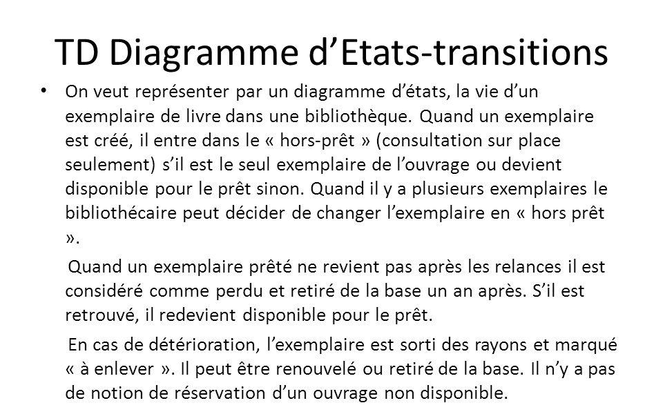 TD Diagramme dEtats-transitions On veut représenter par un diagramme détats, la vie dun exemplaire de livre dans une bibliothèque. Quand un exemplaire