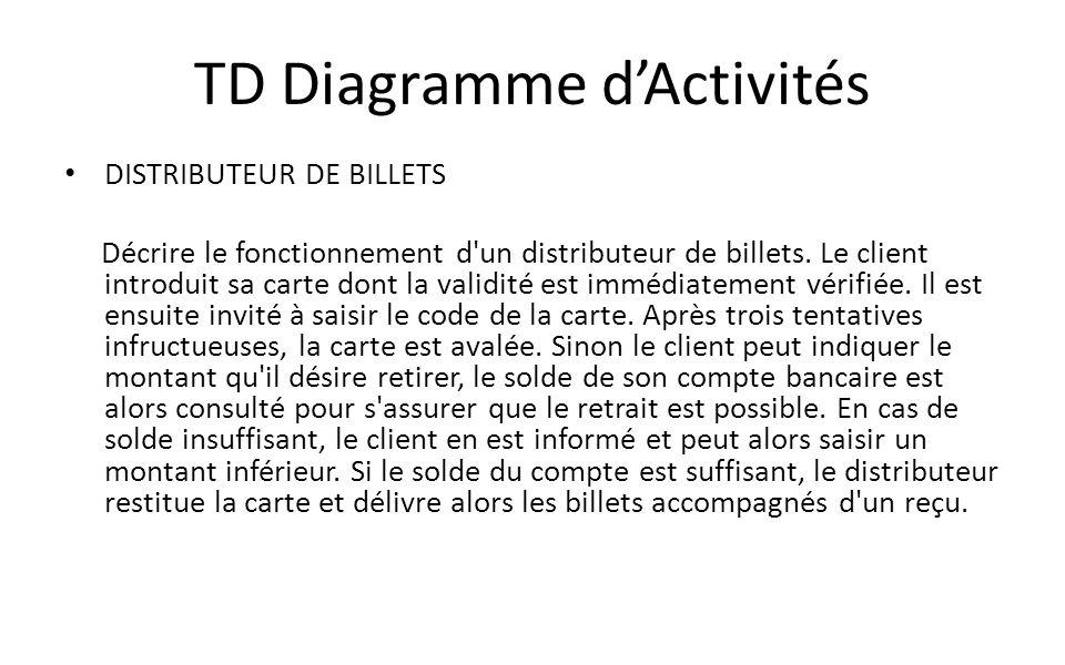 TD Diagramme dActivités DISTRIBUTEUR DE BILLETS Décrire le fonctionnement d'un distributeur de billets. Le client introduit sa carte dont la validité
