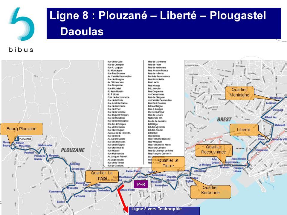 Quartier St Pierre Quartier Recouvrance Quartier Kerbonne Quartier La Trinité Bourg Plouzané Liberté Quartier Montaigne Ligne 2 vers Technopôle P+R Li