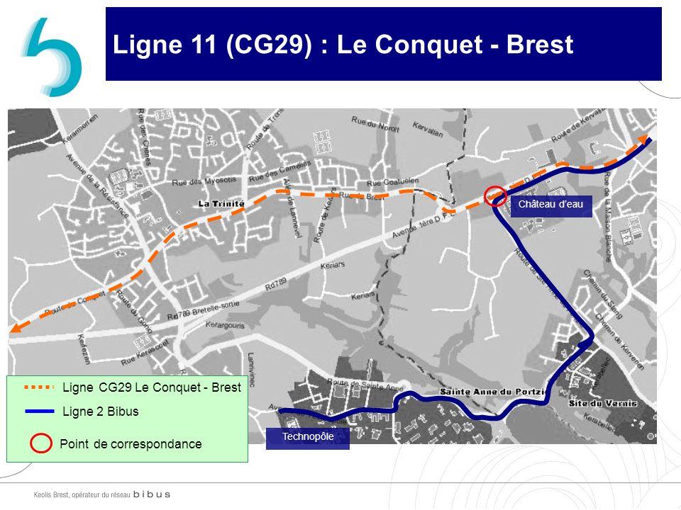 Ligne 11 (CG29) : Le Conquet - Brest Château deau Ligne CG29 Le Conquet - Brest Ligne 2 Bibus Point de correspondance Technopôle
