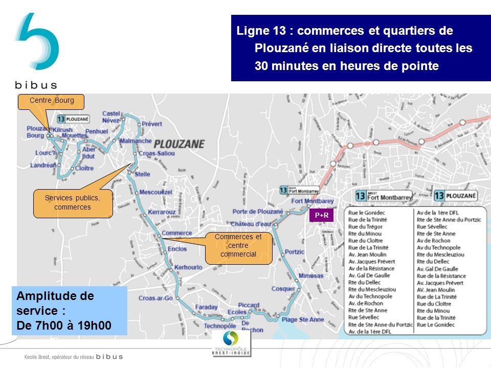 Amplitude de service : De 7h00 à 19h00 Commerces et centre commercial Services publics, commerces Centre Bourg Ligne 13 : commerces et quartiers de Pl