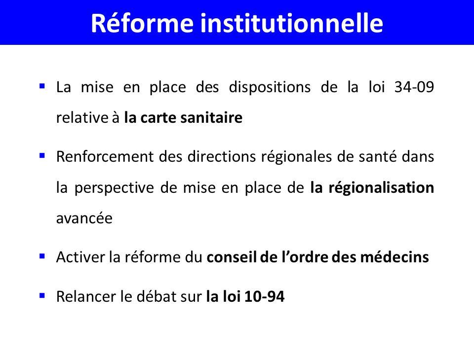 Réforme institutionnelle La mise en place des dispositions de la loi 34-09 relative à la carte sanitaire Renforcement des directions régionales de santé dans la perspective de mise en place de la régionalisation avancée Activer la réforme du conseil de lordre des médecins Relancer le débat sur la loi 10-94