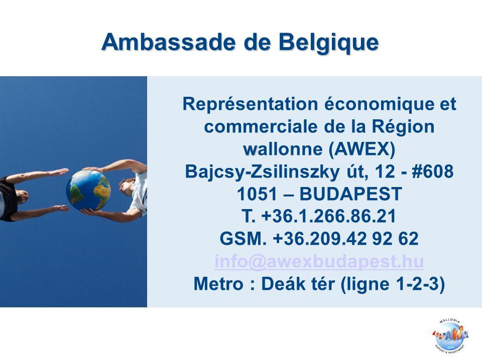 w Représentation économique et commerciale de la Région wallonne (AWEX) Bajcsy-Zsilinszky út, 12 - #608 1051 – BUDAPEST T. +36.1.266.86.21 GSM. +36.20