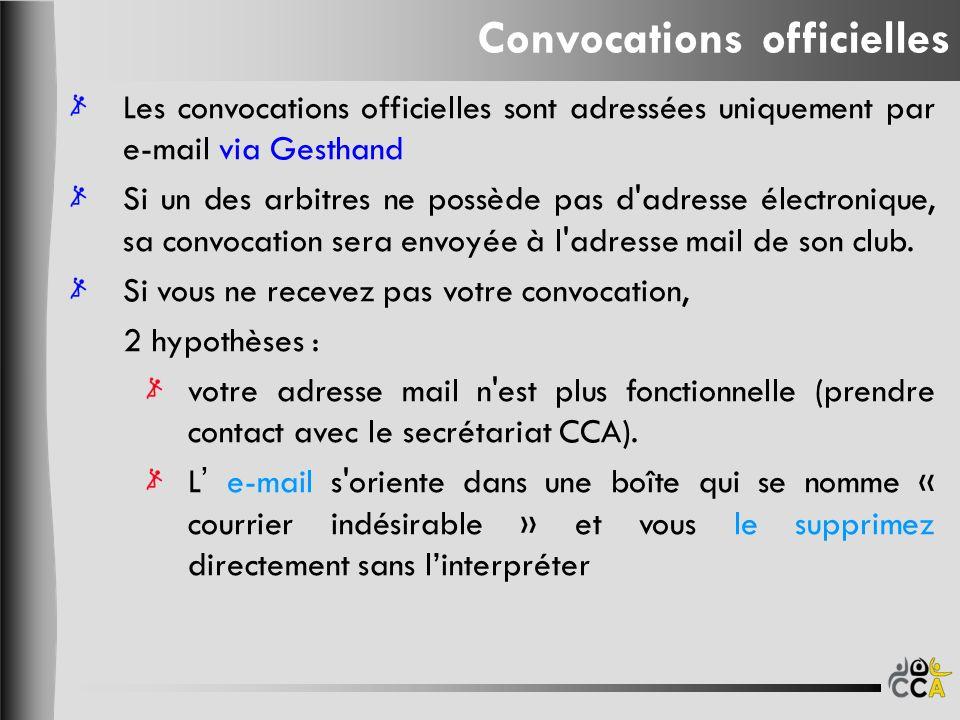 Convocations officielles Les convocations officielles sont adressées uniquement par e-mail via Gesthand Si un des arbitres ne possède pas d adresse électronique, sa convocation sera envoyée à l adresse mail de son club.