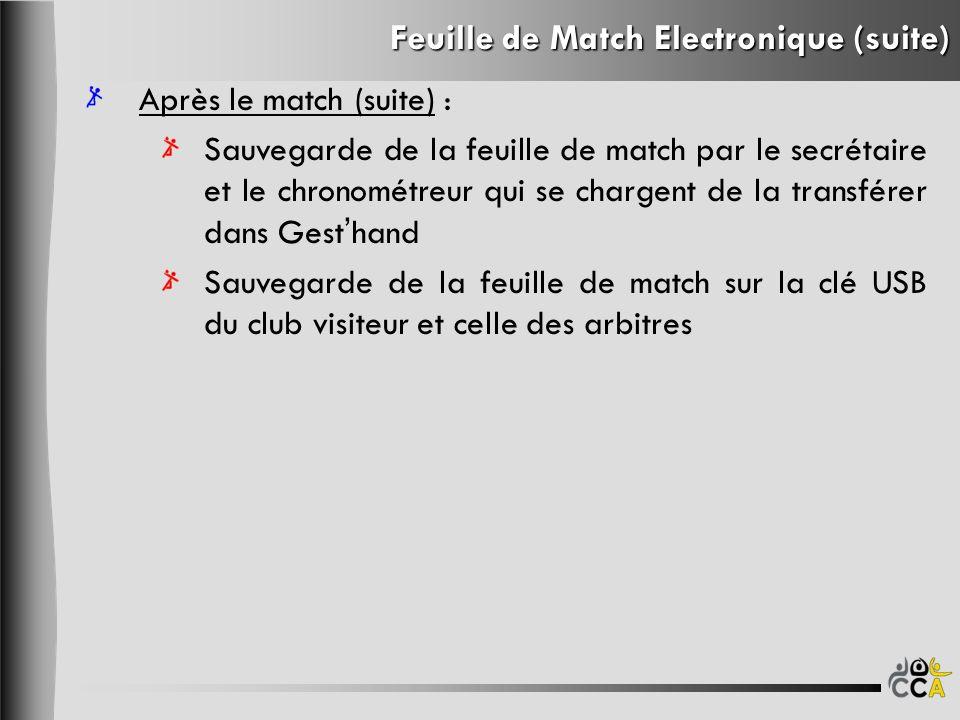 Feuille de Match Electronique (suite) Après le match (suite) : Sauvegarde de la feuille de match par le secrétaire et le chronométreur qui se chargent de la transférer dans Gesthand Sauvegarde de la feuille de match sur la clé USB du club visiteur et celle des arbitres