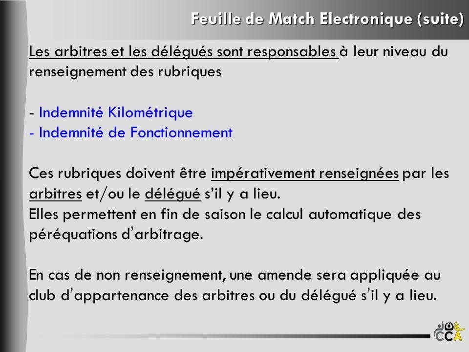 Feuille de Match Electronique (suite) Les arbitres et les délégués sont responsables à leur niveau du renseignement des rubriques - Indemnité Kilométrique - Indemnité de Fonctionnement Ces rubriques doivent être impérativement renseignées par les arbitres et/ou le délégué sil y a lieu.