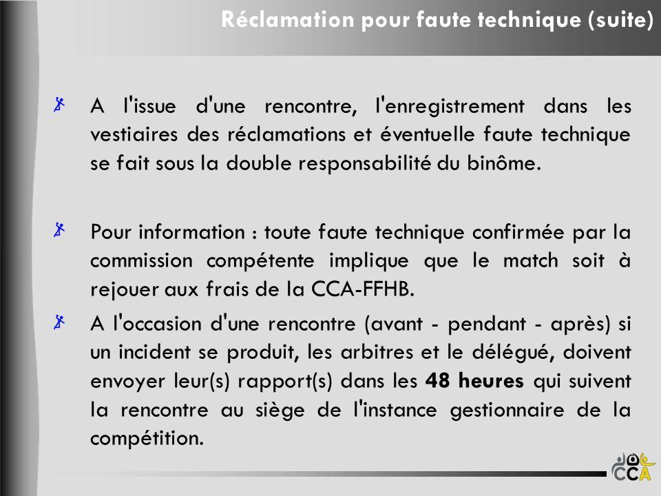A l issue d une rencontre, l enregistrement dans les vestiaires des réclamations et éventuelle faute technique se fait sous la double responsabilité du binôme.
