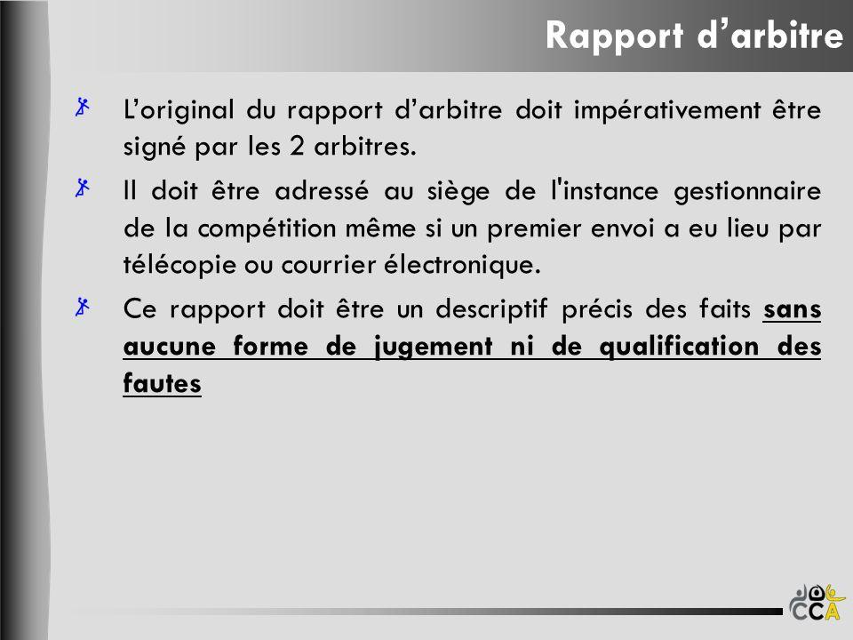 Rapport darbitre Loriginal du rapport darbitre doit impérativement être signé par les 2 arbitres.