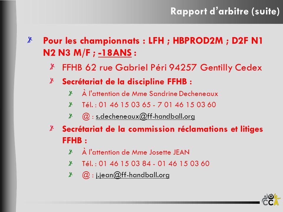 Pour les championnats : LFH ; HBPROD2M ; D2F N1 N2 N3 M/F ; -18ANS : FFHB 62 rue Gabriel Péri 94257 Gentilly Cedex Secrétariat de la discipline FFHB : À l attention de Mme Sandrine Decheneaux Tél.