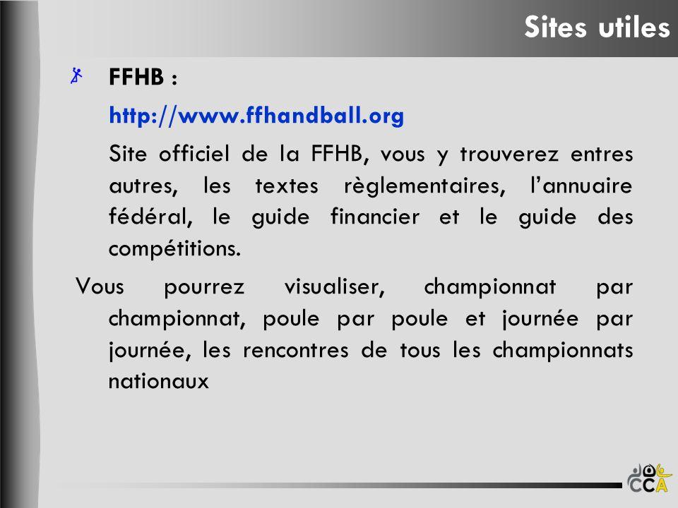 FFHB : http://www.ffhandball.org Site officiel de la FFHB, vous y trouverez entres autres, les textes règlementaires, lannuaire fédéral, le guide financier et le guide des compétitions.