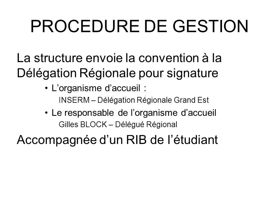 PROCEDURE DE GESTION La structure envoie la convention à la Délégation Régionale pour signature Lorganisme daccueil : INSERM – Délégation Régionale Gr