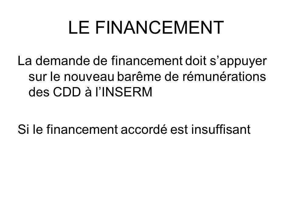 LE FINANCEMENT La demande de financement doit sappuyer sur le nouveau barême de rémunérations des CDD à lINSERM Si le financement accordé est insuffis