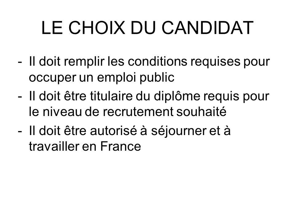 LE CHOIX DU CANDIDAT -Il doit remplir les conditions requises pour occuper un emploi public -Il doit être titulaire du diplôme requis pour le niveau d