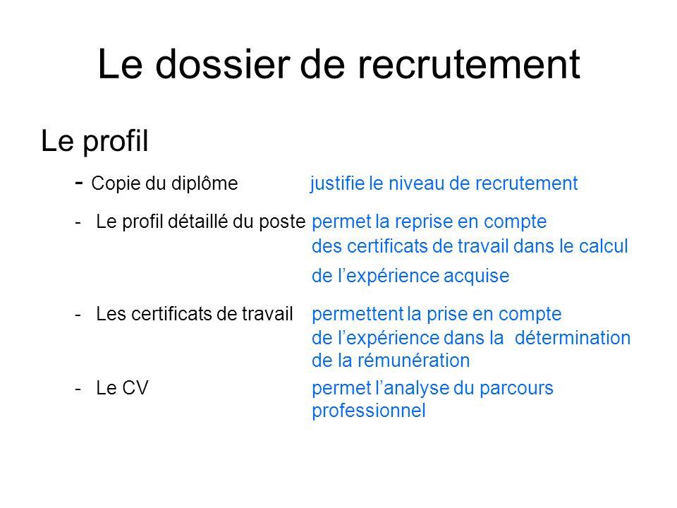 Le dossier de recrutement Le profil - Copie du diplôme justifie le niveau de recrutement -Le profil détaillé du postepermet la reprise en compte des c