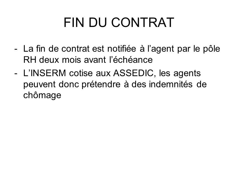 FIN DU CONTRAT -La fin de contrat est notifiée à lagent par le pôle RH deux mois avant léchéance -LINSERM cotise aux ASSEDIC, les agents peuvent donc
