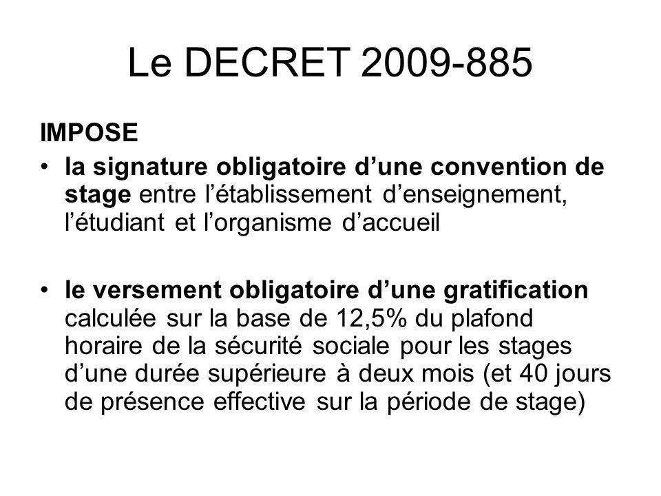 Le DECRET 2009-885 IMPOSE la signature obligatoire dune convention de stage entre létablissement denseignement, létudiant et lorganisme daccueil le ve