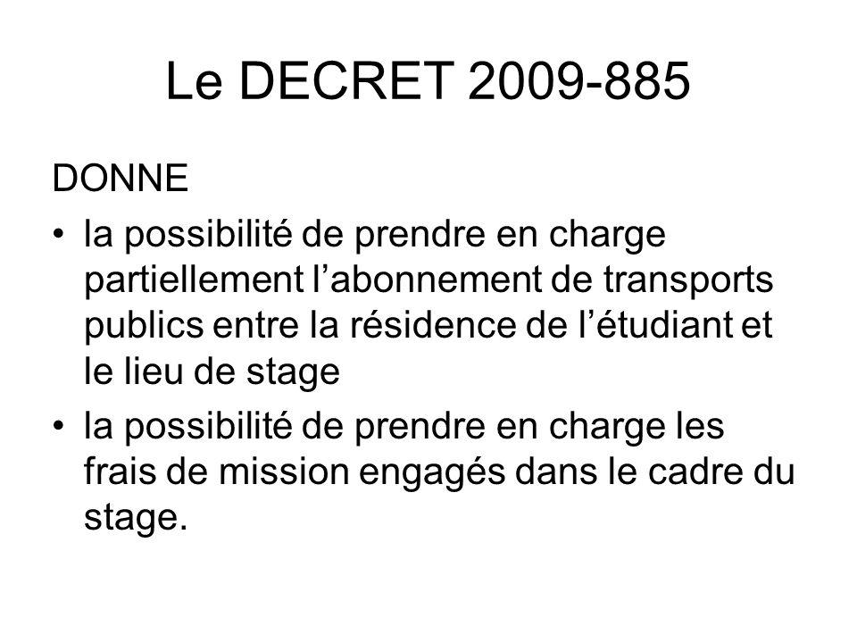 Le DECRET 2009-885 DONNE la possibilité de prendre en charge partiellement labonnement de transports publics entre la résidence de létudiant et le lie
