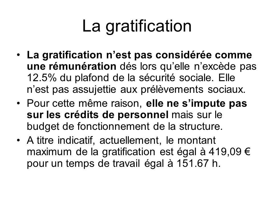 La gratification La gratification nest pas considérée comme une rémunération dés lors quelle nexcède pas 12.5% du plafond de la sécurité sociale. Elle