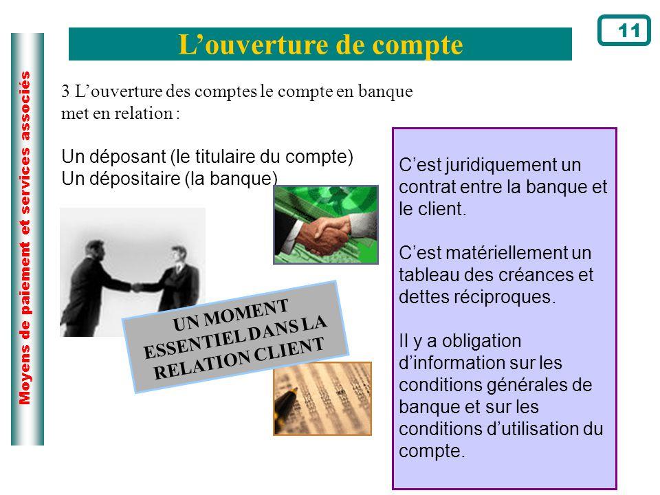 Moyens de paiement et services associés Louverture de compte 11 Cest juridiquement un contrat entre la banque et le client. Cest matériellement un tab