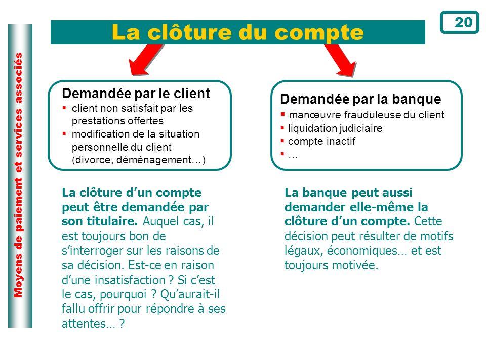 Moyens de paiement et services associés Demandée par le client client non satisfait par les prestations offertes modification de la situation personne