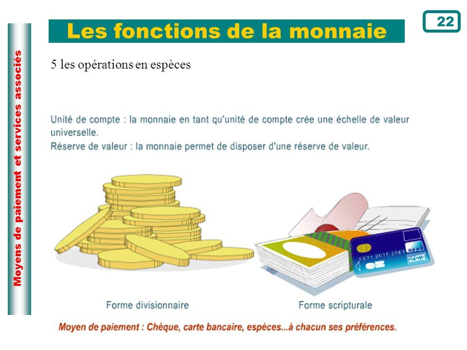 Moyens de paiement et services associés Les fonctions de la monnaie 22 5 les opérations en espèces