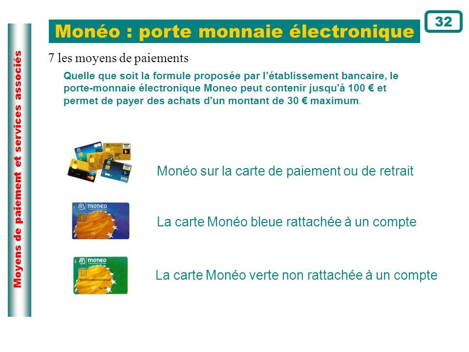 Moyens de paiement et services associés Quelle que soit la formule proposée par létablissement bancaire, le porte-monnaie électronique Moneo peut cont