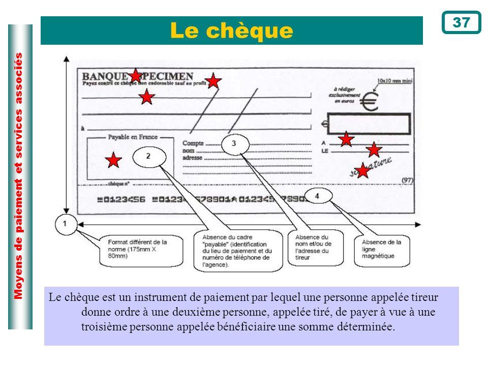 Moyens de paiement et services associés Le chèque 37 Le chèque est un instrument de paiement par lequel une personne appelée tireur donne ordre à une