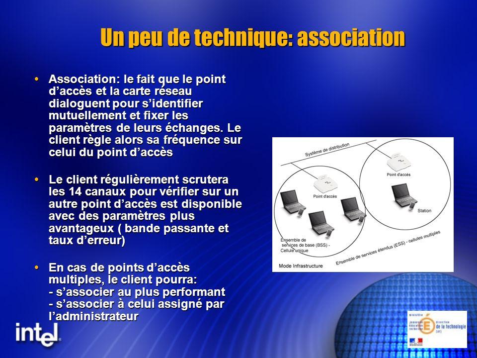 Un peu de technique: association Association: le fait que le point daccès et la carte réseau dialoguent pour sidentifier mutuellement et fixer les par