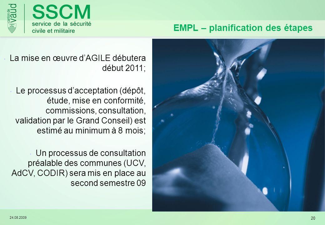 24.08.2009 20 EMPL – planification des étapes La mise en œuvre dAGILE débutera début 2011; Le processus dacceptation (dépôt, étude, mise en conformité