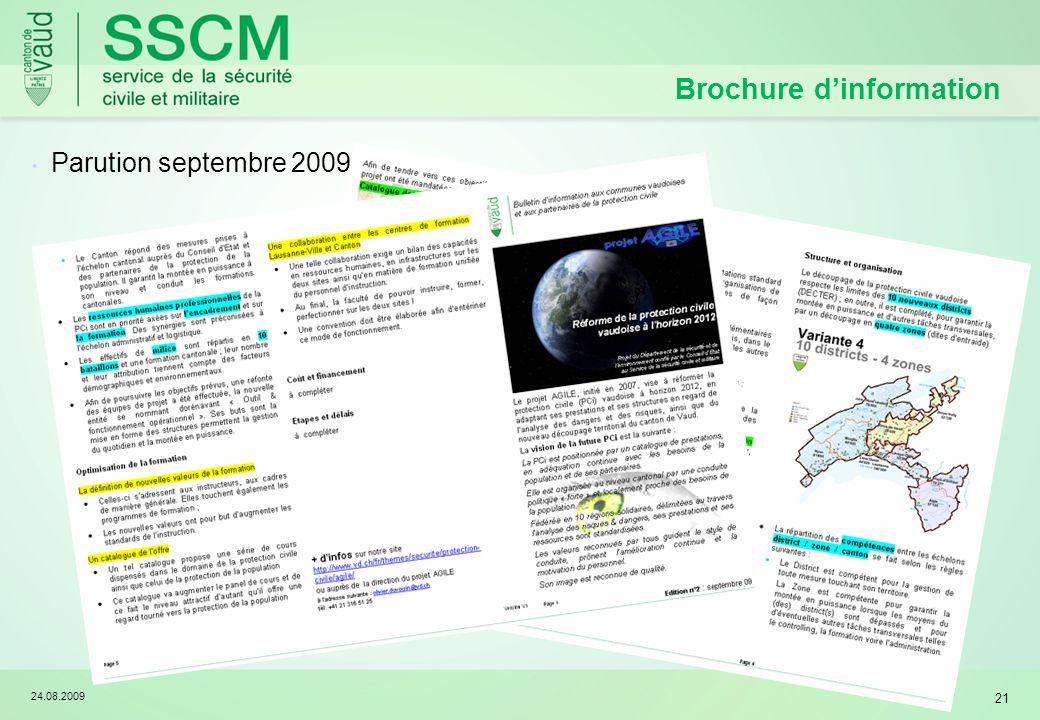 24.08.2009 21 Brochure dinformation Parution septembre 2009
