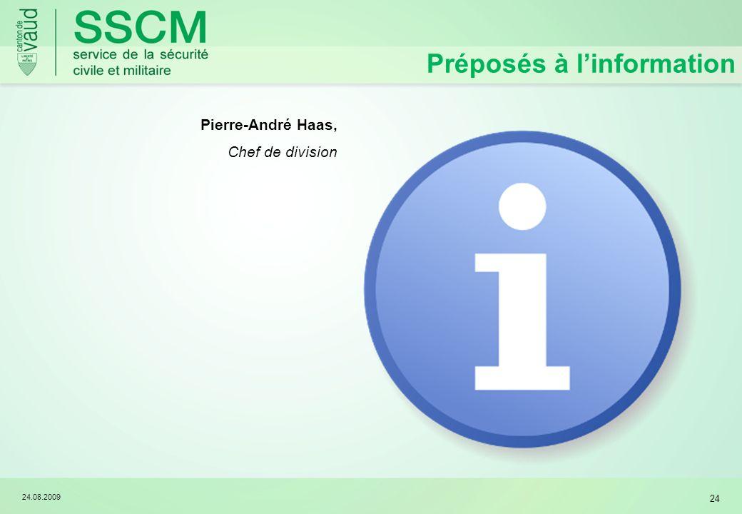 24.08.2009 24 Préposés à linformation Pierre-André Haas, Chef de division