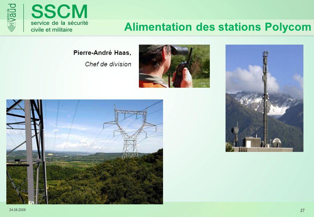 24.08.2009 27 Alimentation des stations Polycom Pierre-André Haas, Chef de division
