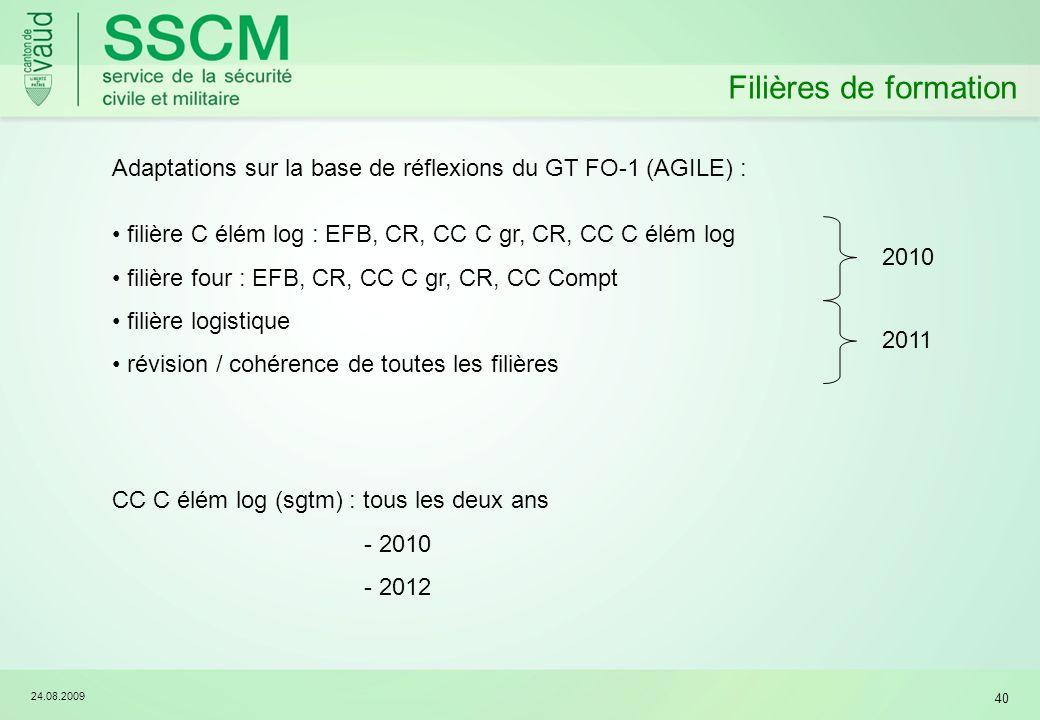 24.08.2009 40 Filières de formation Adaptations sur la base de réflexions du GT FO-1 (AGILE) : filière C élém log : EFB, CR, CC C gr, CR, CC C élém log filière four : EFB, CR, CC C gr, CR, CC Compt filière logistique révision / cohérence de toutes les filières 20102011 CC C élém log (sgtm) : tous les deux ans - 2010 - 2012